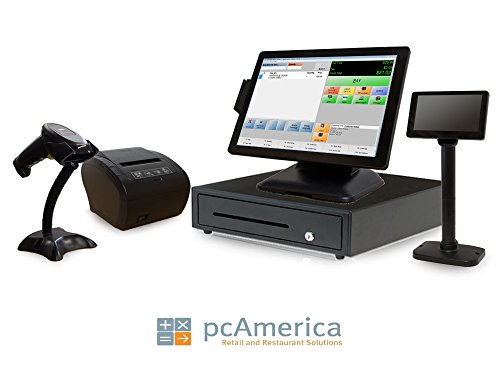 Retail Point of Sale System - Includes Touchscreen PC, POS Software (CRE Monthly), Receipt Printer, Scanner, Cash Drawer, Credit Card Swipe Reader, and LCD Pole Display