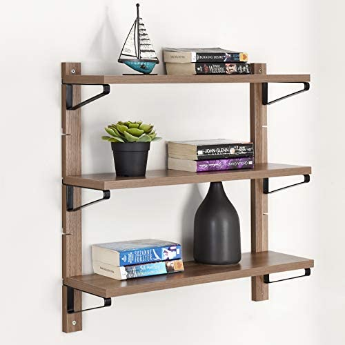 WELLAND 3 Tier Floating Shelf Layer Space Adjustable Wall Shelf for Living Room, Bedroom, Kitchen and Bathroom Metal and Wood 23.62 W x 6.5 D x 23.62 H Nutmeg Brown