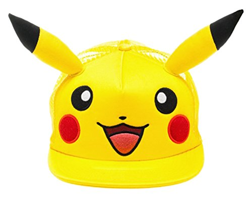 Bioworld Pokemon - Pikachu Big Face W/Ears Hat Size ONE Size Yellow ()