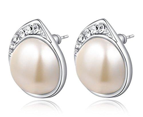 [Austrian Crystals Platinum Pearl Earrings] (Girls Jade Princess Costumes)