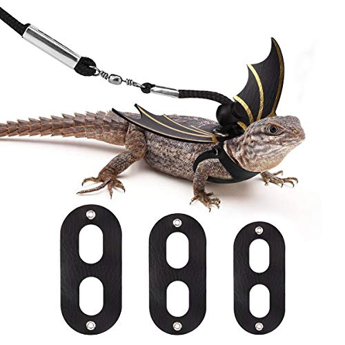 Halloween Costumes For Bearded Dragons (Vavopaw Lizard Reptiles Leash & Wings Set (S/M/L 3 Pack), Adjustable Bat Wing Shaped Harness Costume Kit for Lizards, Bearded Dragon, Iguanas, Reptile & Small)