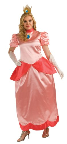 Princess Peach Deluxe Adult Costumes (Super Mario Brothers Deluxe Princess Peach Costume, Pink, Plus)