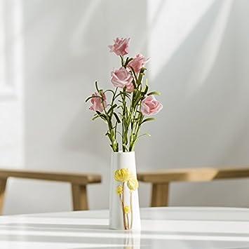 GUANGMING77 Kleine Weiße Vase Geprägte Handbemalte Heimtextilien ...