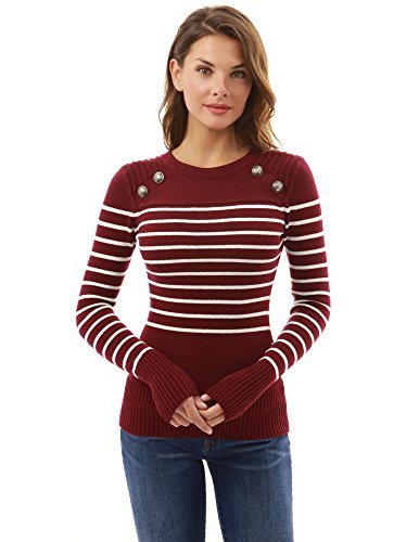Lightweight Striped Sweater - PattyBoutik Women Crewneck Striped Military Sweater (Burgundy and Ivory Large)