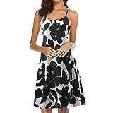 Women's Summer Casual Sundress Sleeveless Floral Printed Backless Tank Beach Shift Dress Black