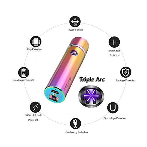 360° Triple Arc USB Rechargeable Windproof Electrical Plasma Arc Lighter For Pipes Bowls Cigarettes Cigars and Camping Larruping®