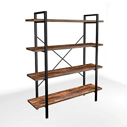Lazyin 4-Tier Industrial Bookshelf and Bookcase