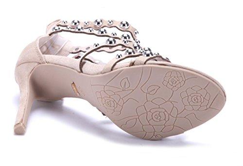 Schuhtempel24 Damen Schuhe Sandaletten Sandalen Stiletto Nieten 10 cm High Heels Beige