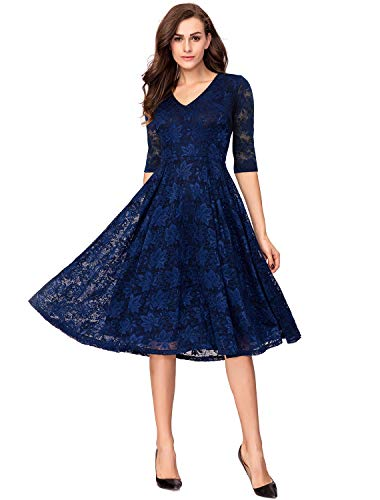 Spring Lace Semi-Formal Cocktail Dresses for Women Party Wedding Navy -
