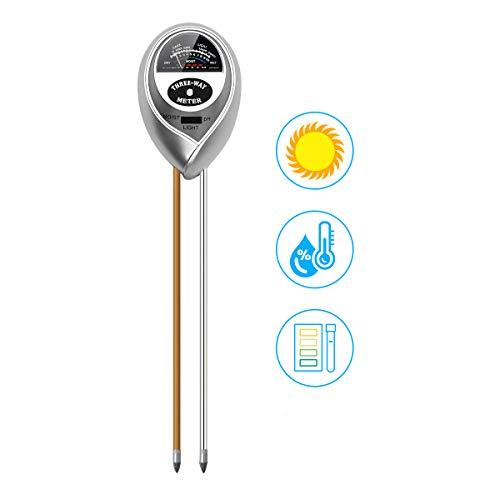 Spearmint Technology 3 in 1 Soil PH Meter Pro, Digital Soil Test Kit Soil Moisture/PH Acidity/Light/ Tester, Plant Tester Garden, Farm, Lawn, Indoor Outdoor Use Easy Read Indicator No Battery Needed by Spearmint Technology