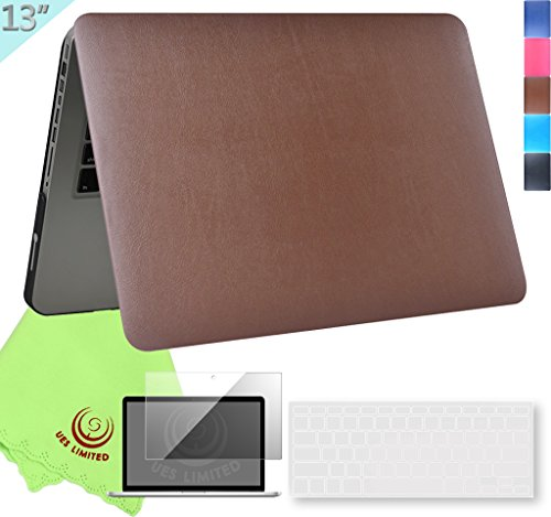UESWILL 3in1 Rich Soft-Touch Supple Leather Hard Shell Case Cover for MacBook Pro 13