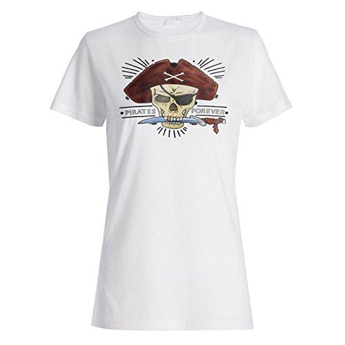 Arte Pirata Del Pirata Del Cráneo camiseta de las mujeres m977f
