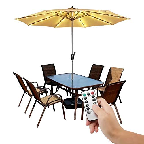 Patio LED Umbrella String Lights,8 Mode with Remote Control Parasol Lights Battery Operated Waterproof Outdoor Lighting for 9-10ft Table Patio Umbrellas Outdoor Sunshade-Warm White (Lights String Umbrella)