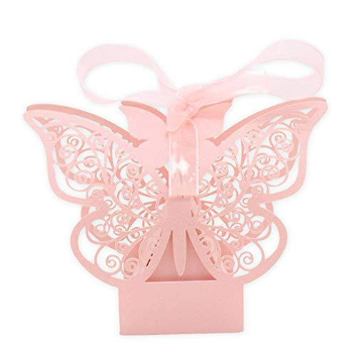 MEIZOKEN 50pcs/Lot Candy Favor Theat Boxes Wedding Gift Bag Paper Butterfly Decorations for Wedding Baby Shower Birthday Guests Favors Event Party -