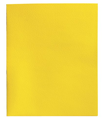 School Smart Heavy Duty 2 Pocket Portfolio with 3 Hole Fastener - 9 1/2 x 12 in - 25 Pack - Yellow