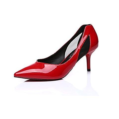 Freerun Women's Pointed Toe Slip-on PU Sides Mesh Stiletto Pumps (5 B(M)US,red) (Zx Flux Italia)