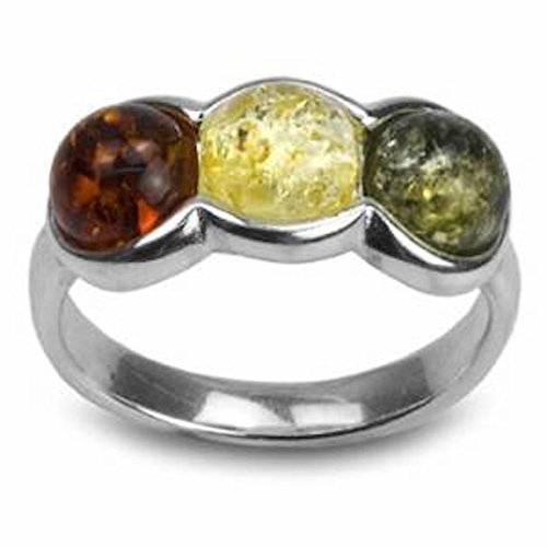 Color Ring Silver Sterling Tri - Ian and Valeri Co. Multicolor Amber Sterling Silver Triple Round Ring