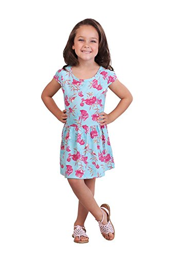 Aqua Floral Dress (Pulla Bulla Little Girl Pleated Short Sleeve Floral Dress Size 6X Aqua)