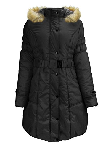 ZAIAI Women's Parkas Anoraks Long Coats with Removable Faux Fur Trim Hood Black XL