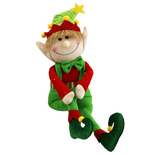 WEWILL 22'' Stuffed Elf Christmas Decoration Adorable Elves Figure Plush Toys Xmas Ornaments (Green)