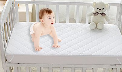 Crib Mattress Cover Protector, Ultra Soft and Noiseless Waterproof Quilted Bamboo Crib Mattress Pad Cover with 9 inch Skirt, High Absorbency and Stain Protection Baby Cover Newmeil