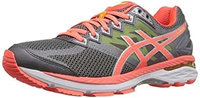 ASICS Women's GT-2000 4 Running Shoe, Charcoal/Flash Coral/Flash Yellow, 5 M US
