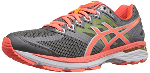 (ASICS Women's GT-2000 4 Running Shoe, Charcoal/Flash Coral/Flash Yellow, 7 M)