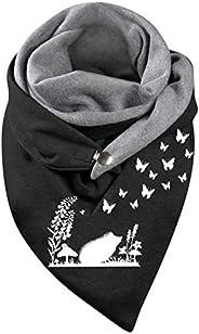 Fall Winter Scarf for Women Fashion Print Scarves Warm Soft Lightweight Fluffy Button Blanket Warps Shawls