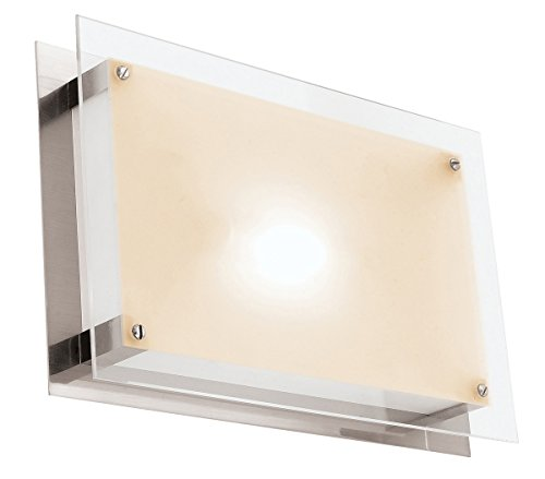 4LED-BS/FST Vision LED Light 16-Inch Width Flush Mount with Frosted Glass Shade, Brushed Steel Finish (16 Inch Width Flush Mount)