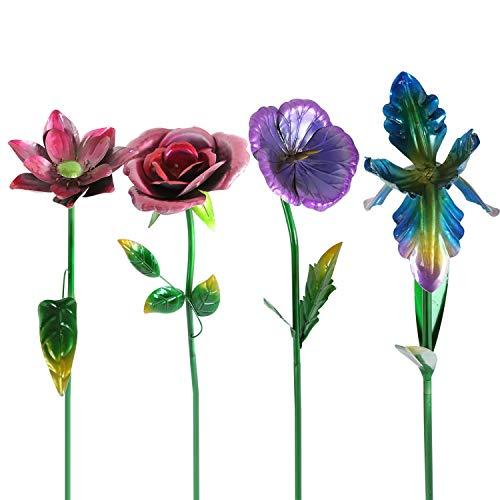 Metal Yard Flowers (Ivy Home Spring Floral Outdoor Statement Flower Garden Stake, 4)