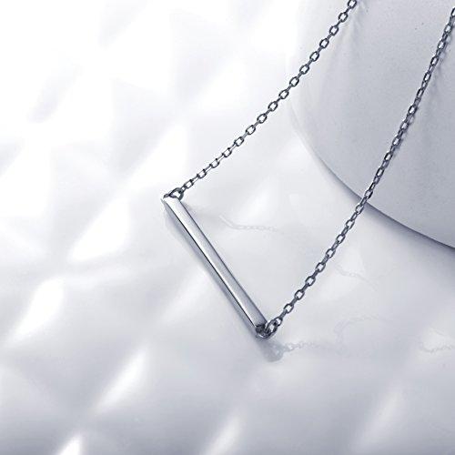 S.Leaf Bar Necklace Sterling Silver Minimalism Line Necklace Horizontal Bar Necklace (Necklace-White Gold) by S.Leaf (Image #1)