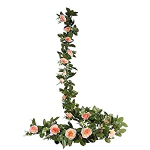 Gutlangg 2PCS(15.7 FT) Artificial Rose Vine Fake Silk Flowers Garland Hanging Rose Ivy Plants for Wedding Home Party Garden Craft Art Arch Arrangement Decor 33