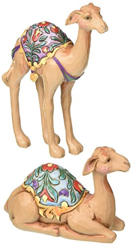 "Jim Shore Heartwood Creek Mini Stone Resin Camel Figurines Set of Two, 4.25"" ()"