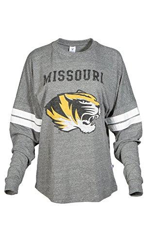 NCAA Missouri Tigers Betty Long Sleeve Tri-Blend Football Jersey T-Shirt, X-Large, Tri Grey/White ()