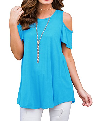 PrinStory Women's Short Sleeve Casual Cold Shoulder Tunic Tops Loose Blouse Shirts Nile Blue-L