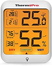 ThermoPro TP53 Hygrometer Digital Indoor Room Thermometer Temperature Humidity Monitor Gauge Indicator for Nursery Home Office with Touch Backlight
