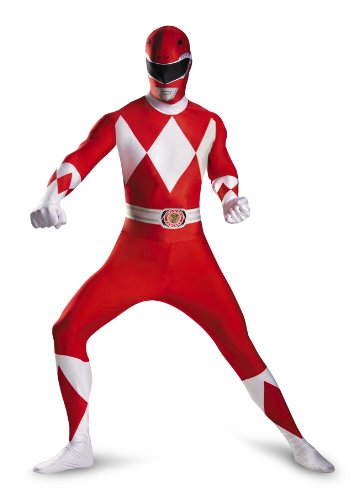 Cheap Power Ranger Morphsuit (Disguise Sabans Mighty Morphin Power Rangers Red Ranger Bodysuit Adult Costume, Red/White,)