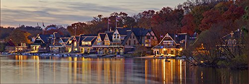 (Philadelphia Boat House Row in Autumn - Panorama Canvas Art)
