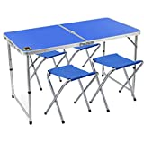 Edoking Folding Camping Table with 4 Folding Stools Height Adjustable Aluminum with Parasol Hole for Indoor/Outdoor (Blue)
