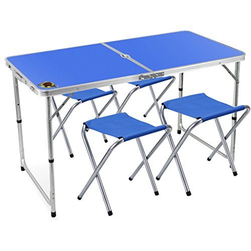 Folding Camping Table with 4 Folding Stools ,Edoking Height Adjustable Aluminum with Parasol Hole for Indoor /Outdoor (Blue)
