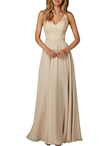 V Elegantes Ärmellos Linie Ausschnitt Langes Champagner Abendkleid Damen Satin Spitze A Chiffon nHxqw1X1