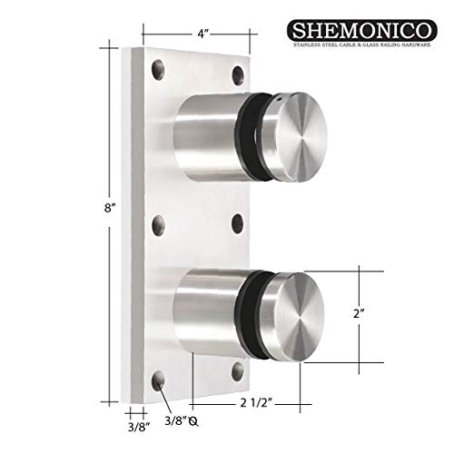 (Shemonico Brushed Stainless Steel Glass Rail Standoff Fitting with Mounting Plate One Piece)