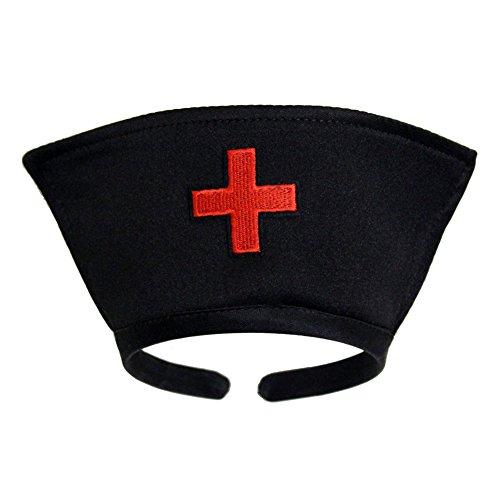 Black Nurse Hat Headband with Red Cross ~ Halloween Costume Accessory -