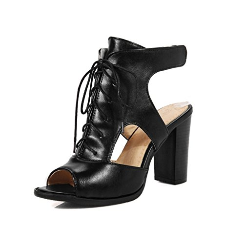 Punta hasta Negro De para Fiesta EU37 Abierta Encaje De Sandalias UK5 Zapatos Bloque Tacón Black con Noche Mujer pq81YPxz