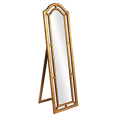 Howard Elliott Mark Leaner Floor Mirror - 19.5W x 66H in. - Dimensions: 19.5W x 19D x 66H in. Resin construction Deco golden finish - mirrors-bedroom-decor, bedroom-decor, bedroom - 41Sqx2dffLL. SS400  -