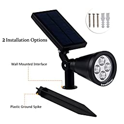 InnoGear Upgraded Solar Lights 2-in-1 Waterproof Outdoor Landscape Lighting Spotlight Wall Light Auto On/Off for Yard Garden Driveway Pathway Pool