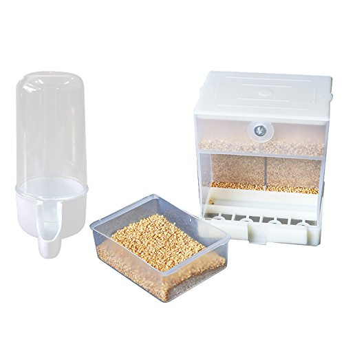 DaCool Bird Feeder Cage, Bird Feeding with Separate Water Feeder the Cage Food Closed Storage Keep Dry Bottom Match Groove Design Prevent Food Drop which Independent Addition of Food Mouth to Add Food by DaCool