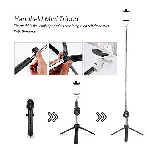 FEKETEUKI Handheld Mini tr/ípode 3 en 1 Autorretrato Tel/éfono m/óvil Selfie Stick Soporte de Escritorio Soporte para Clip-Negro-1 Tama/ño