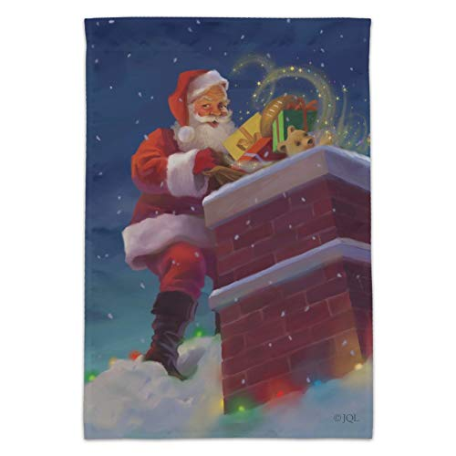 (GRAPHICS & MORE Christmas Holiday Santa Going Down The Chimney Garden Yard Flag (Pole Not Included))