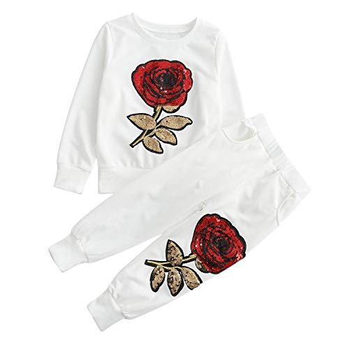Evelin LEE Unisex Baby 2pcs Outfits Long Sleeve Flower Pullover Sweatshirts&Long Pants White